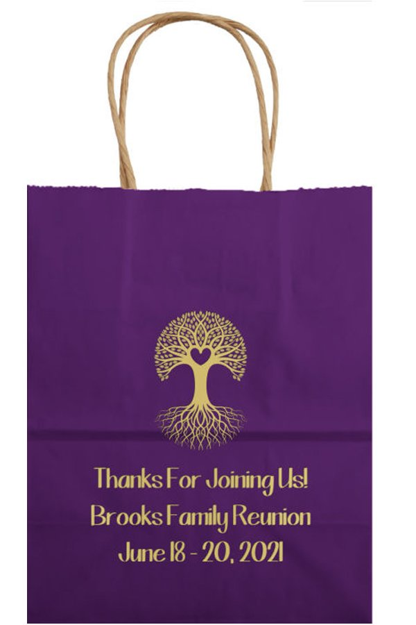 Kraft Family Reunion Welcome Bag in Purple with Metallic Gold Imprint, design FR109 - Heart Tree and three lines of text in Marker lettering style.