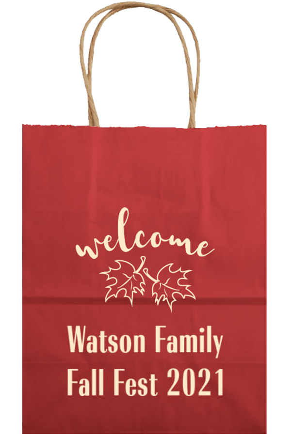 Kraft Welcome Bag in Berry Red with Ivory Imprint, Design WB008 - Welcome Leaves, and two lines of text printed in Radiant Bold Condensed Lettering Style.