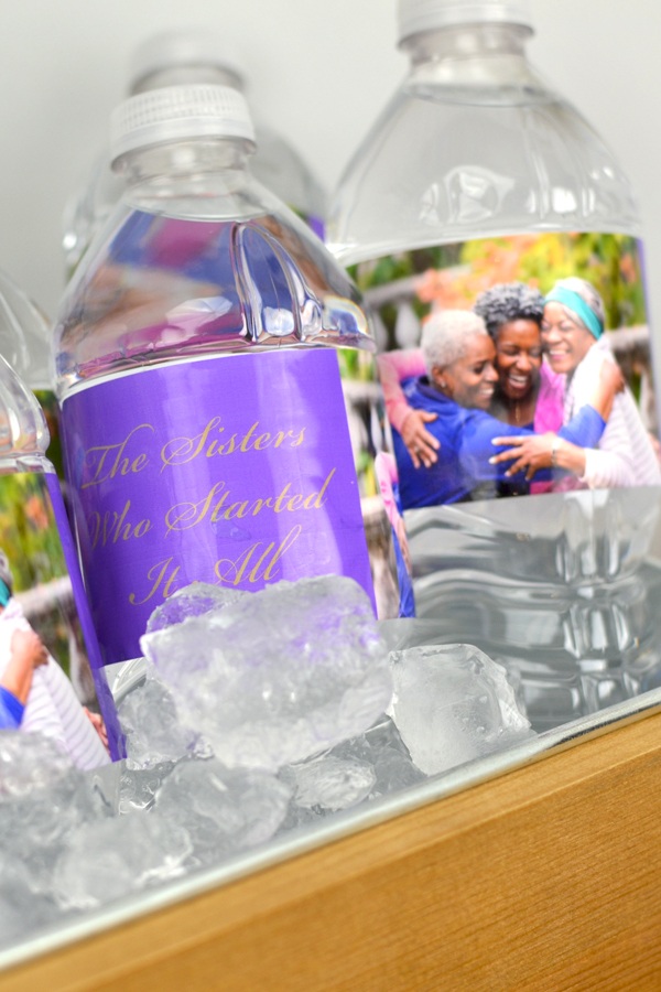 Family reunion party custom printed water bottle labels with photo. Purple background color and Gold imprint with photo of three sisters and text in Stylish lettering style