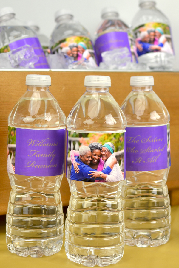 Custom Printed Family Reunion Photo Water Bottle Labels