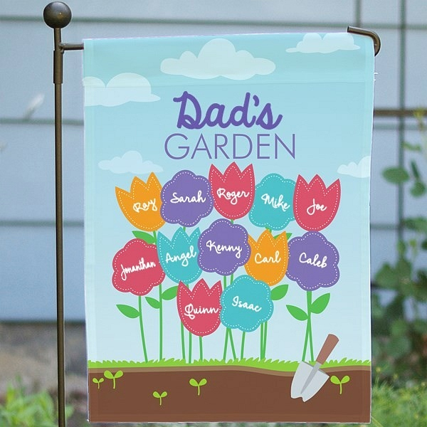Custom garden flag personalized for Dad with kids and grandkids