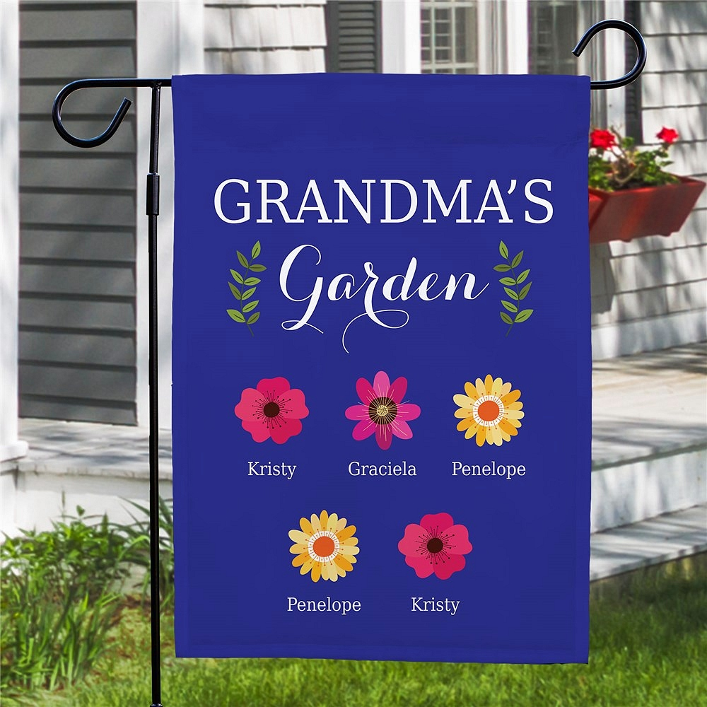 Grandma's Garden flag personalized with grandkids' names on assorted pretty flowers