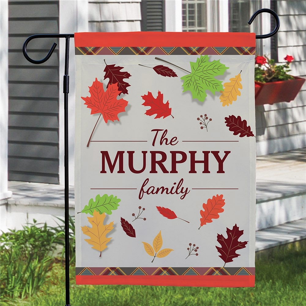 Fall Leaves garden flag personalized with family name