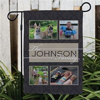 Family Photo custom garden flag personalized with four family photos and family name