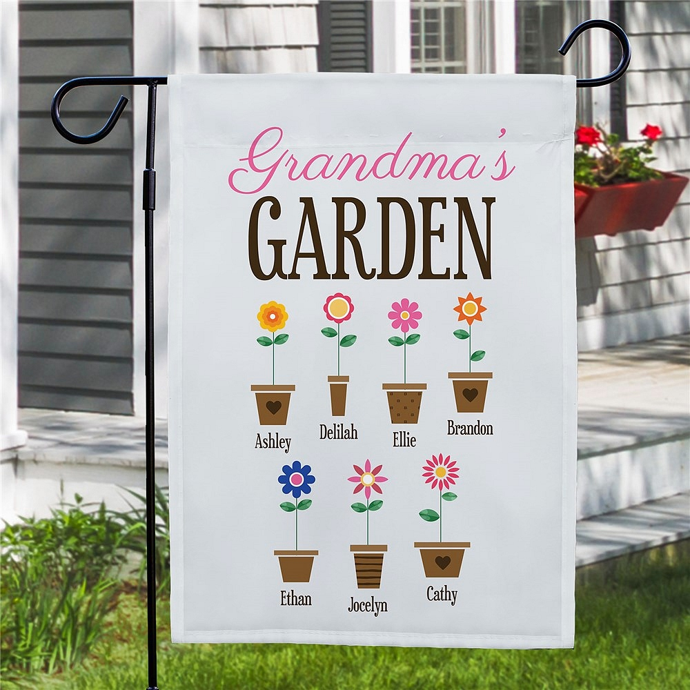Grandma's Garden flag personalized with grandkids' names on assorted flower potted flowers