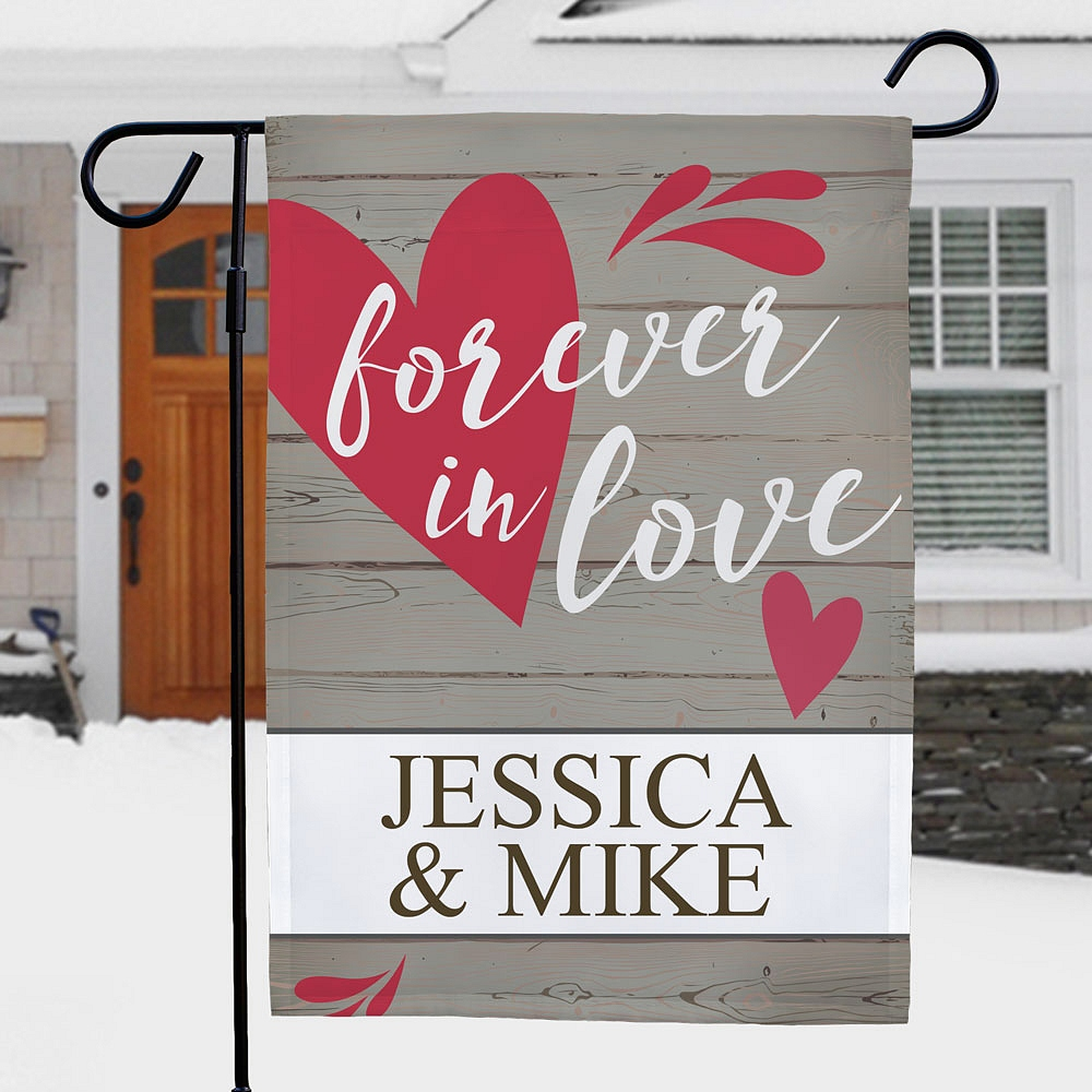 Forever In Love garden flag personalized with  couple's names