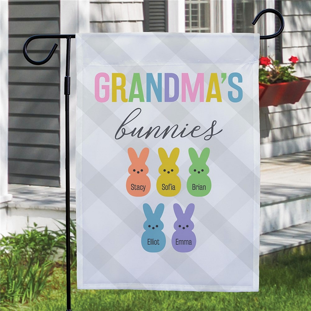 Grandma's Bunnies garden flag personalized with grandkids' names on assorted color bunnies