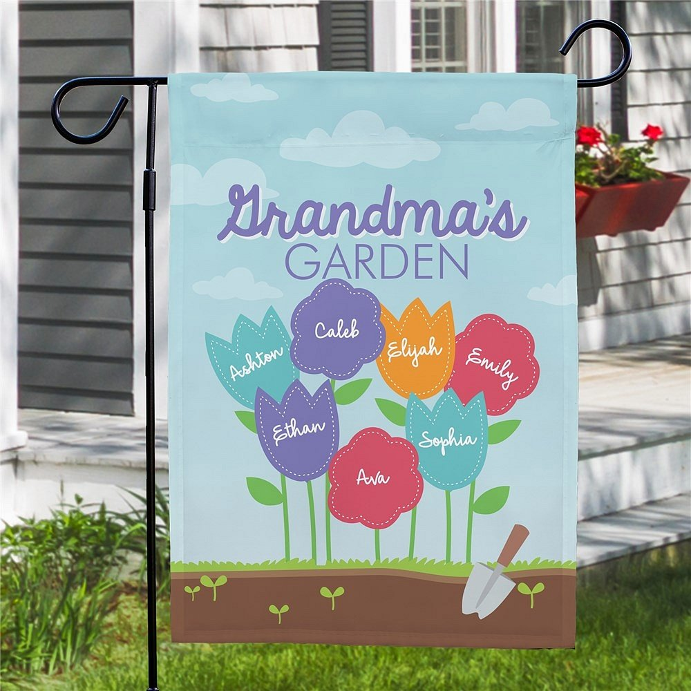 Grandma's Garden flag personalized with grandkids' names on assorted flower designs