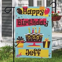 Personalized birthday garden flag featuring big, bold lettering and bright, colorful birthday cake and presents design