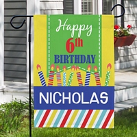 Colorful candles and stripes birthday garden flag personalized with name and age