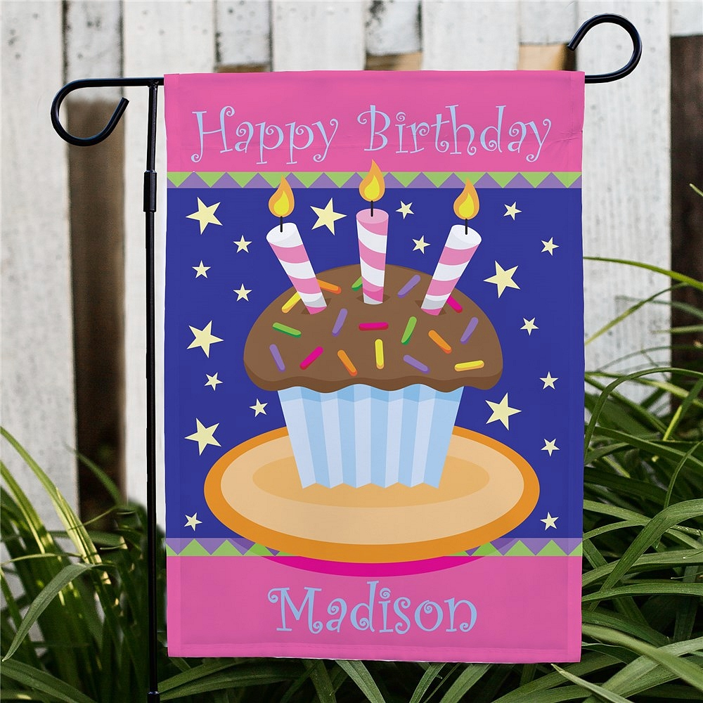 Large cupcake birthday garden flag personalized with name