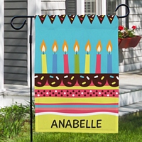 Colorful candles on top layer cake birthday garden flag personalized with name