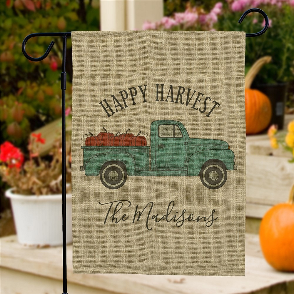 Burlap Happy Harvest pickup truck garden flag personalized with family name
