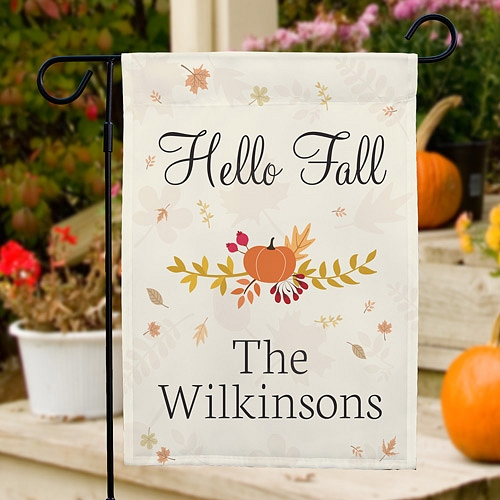 Pumpkin and leaves design Hello Fall garden flag personalized with family name