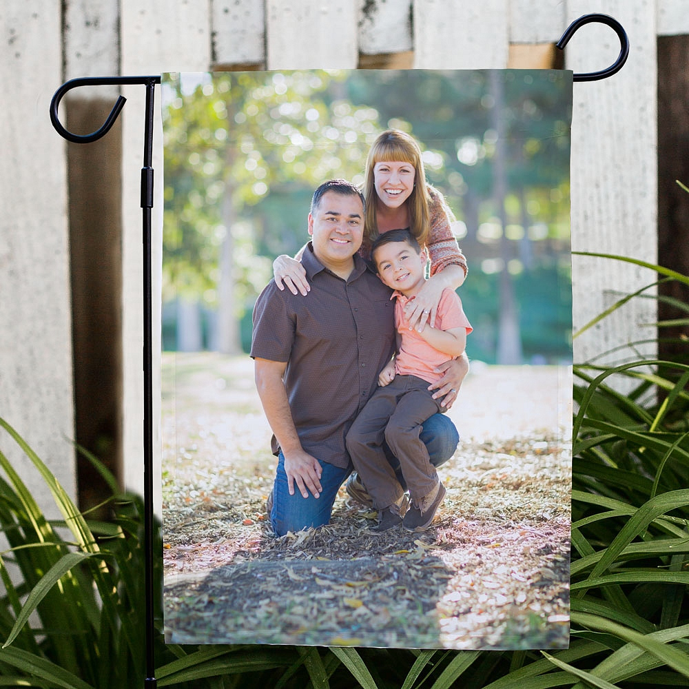 Family portrait custom printed on garden flag