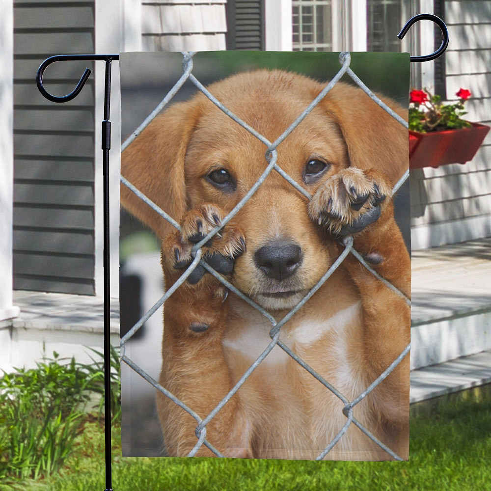 Favorite pet photo on personalized garden flag