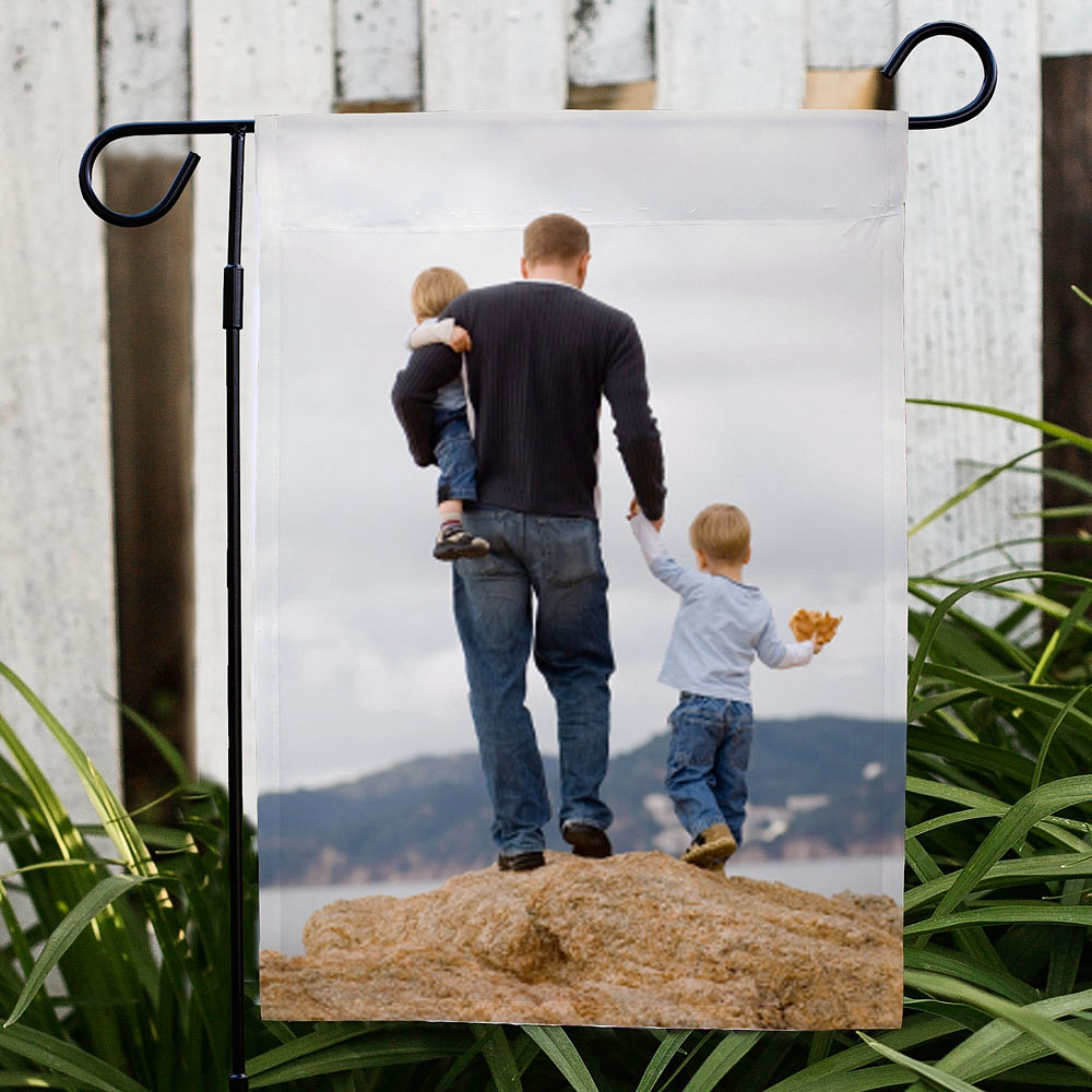 Dad and kids photo on personalized garden flag