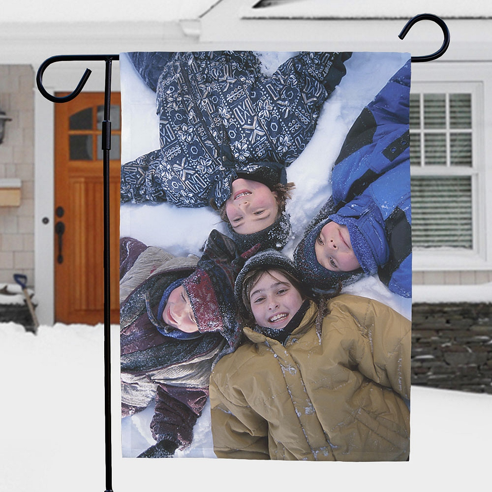 Kids in snow portrait on personalized garden flag