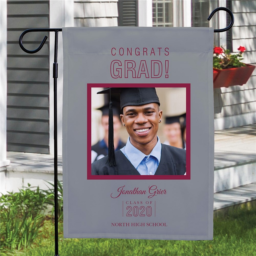 Custom photo graduation garden flag personalized with dark purple print on light background