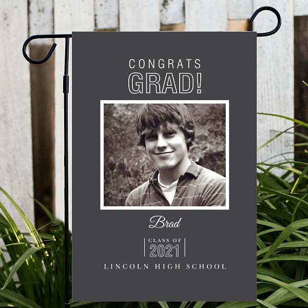 Custom photo graduation garden flag personalized with white print on dark background