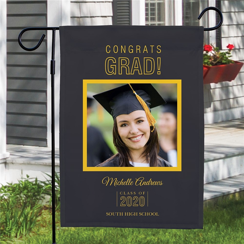 Custom photo graduation garden flag personalized with yellow print on dark background