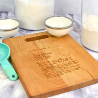 12x9 Recipe Cutting Board with Cutout Handle shown in Cherry Wood
