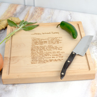 12 Inch Square Cutting Board shown in Maple Wood with a custom family recipe