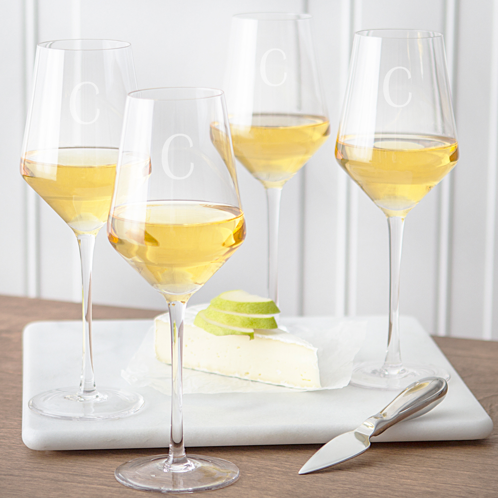 Estate Collection White Wine Glasses Set with Custom Engraved Initial & 10 In. Personalized Baby Shower Dinner Plates