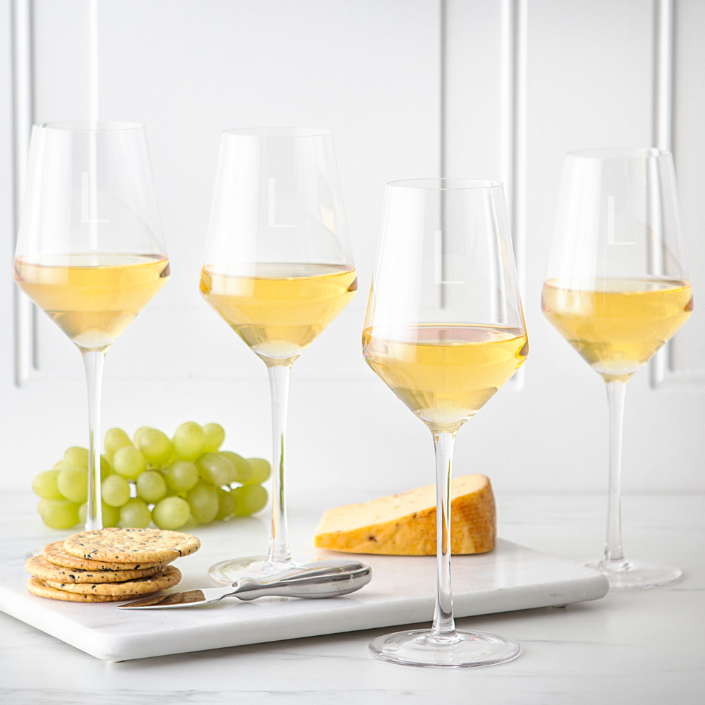 Estate Collection White Wine Glasses Set with Custom Engraved Initial