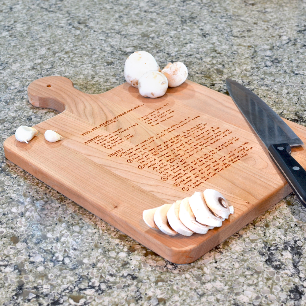 16 x 10 Inch Family Recipe Cutting Board shown in Cherry Wood