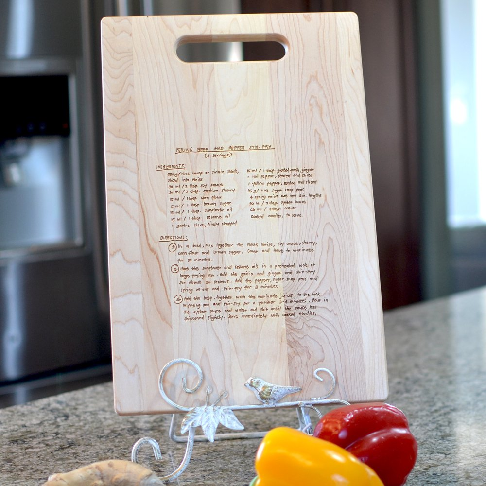 Maple 16x10 Recipe Cutting Board with Cutout Handle