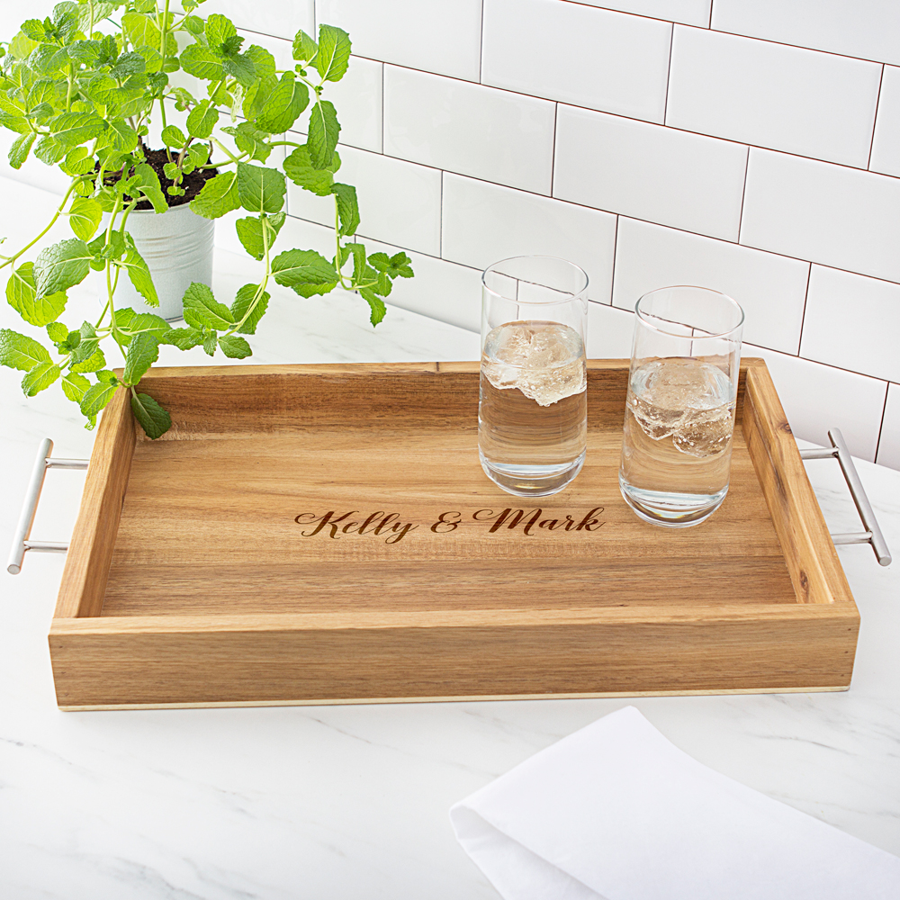 personalized acacia wood serving tray with metal handles