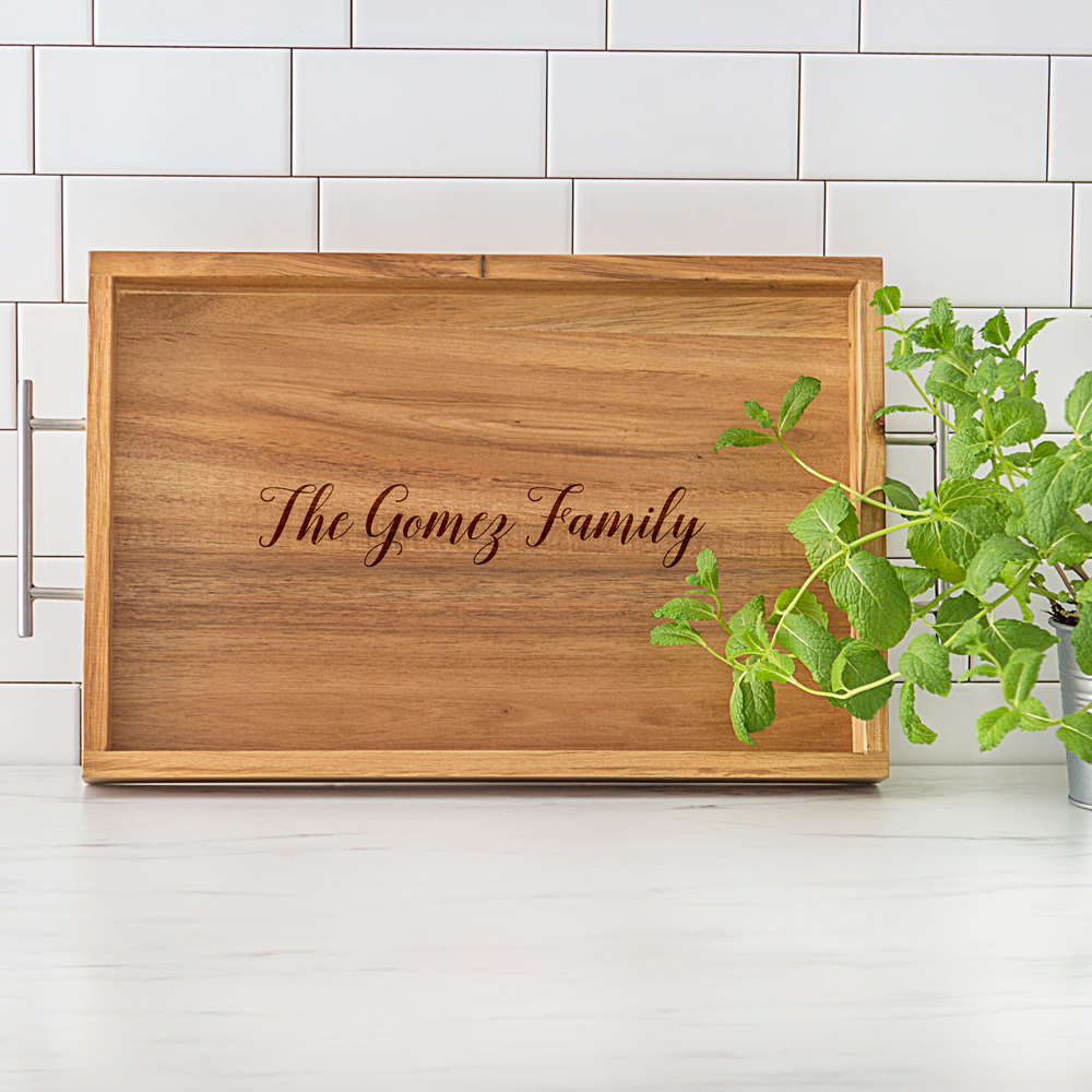 Personalized Acacia Wood Serving Tray with Metal Handles Engraved with Family Name