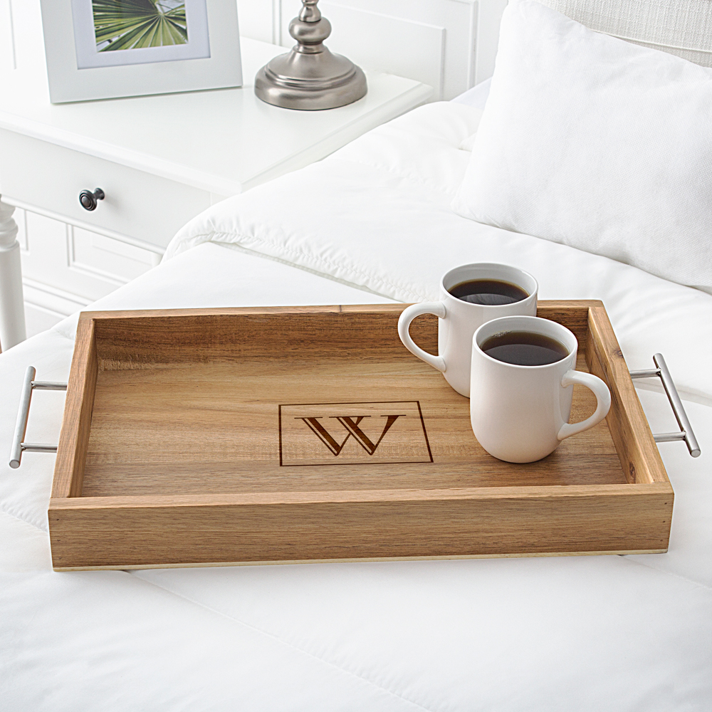 Personalized Acacia Wood Serving Tray with Metal Handles Engraved with Single Block Initial