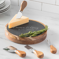 Personalized Wood and Slate 5 Piece Cheese Board Set w/ Utensils