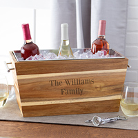 17 x 8 Personalized Acacia Wood Trough Wine Chiller