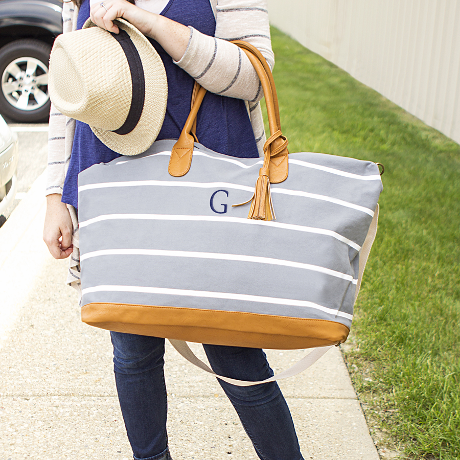 Personalized Striped Grey Canvas Oversized Weekender Tote Bag