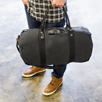 Black Canvas and Leather Duffle Bag