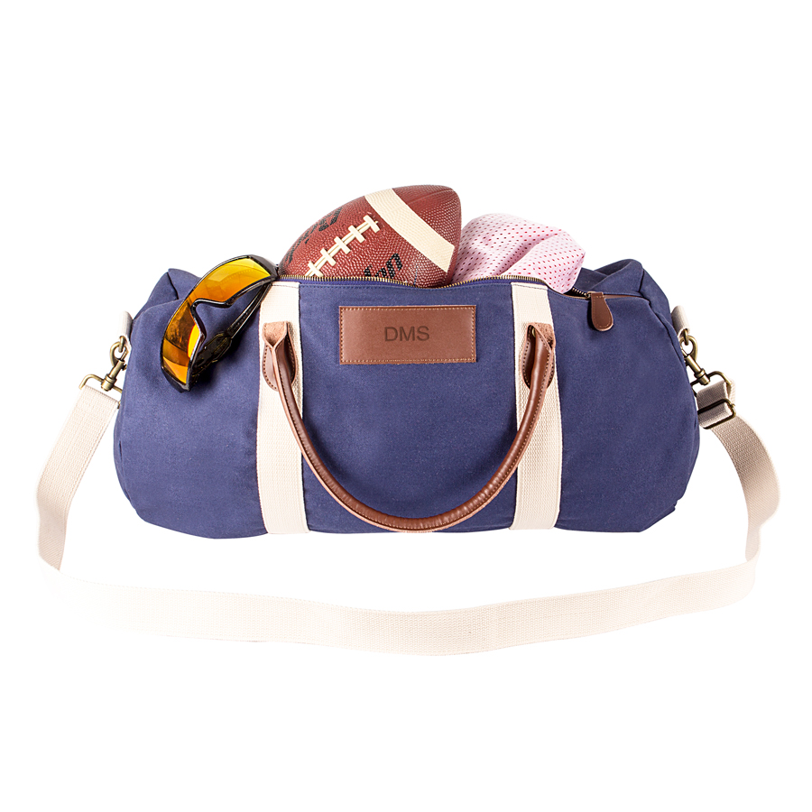 Personalized Navy Duffle Bag