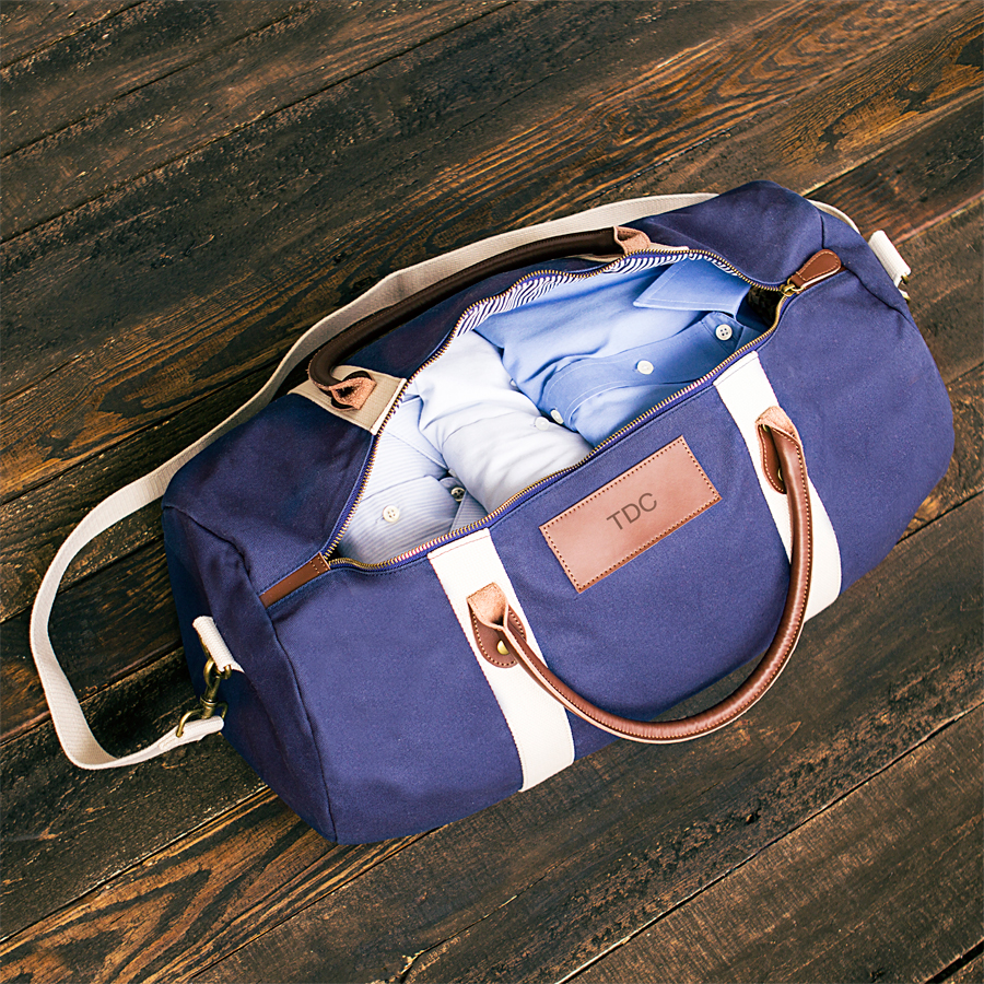 Open view of Navy Canvas and Leather Duffle Bag