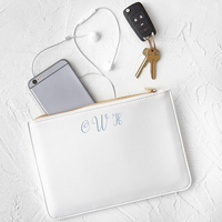 Personalized White Women's Vegan Leather Clutch with Embroidered Monogram