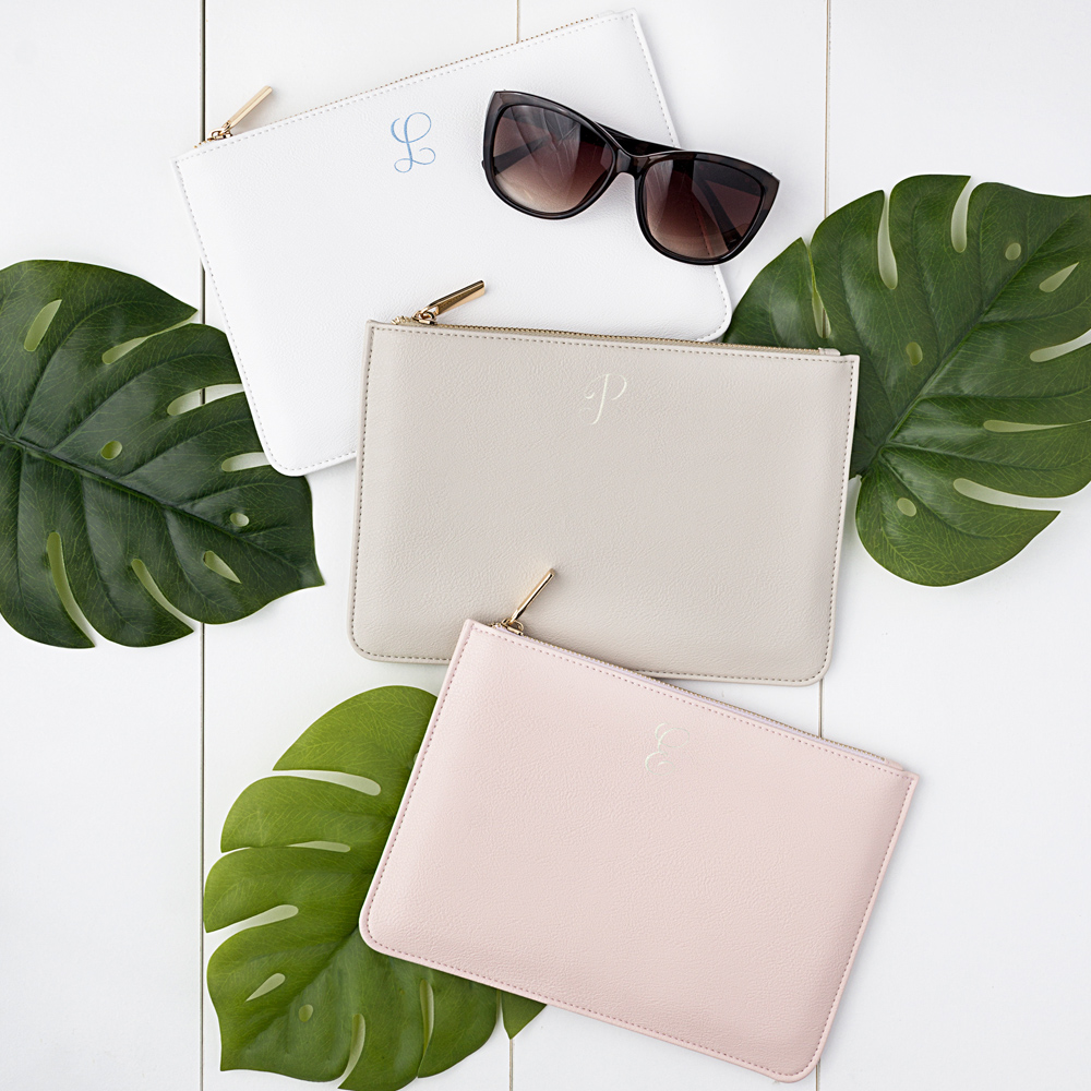 Personalized Women's Vegan Leather Clutches in White, Grey, and Pink with Embroidered Single Initials