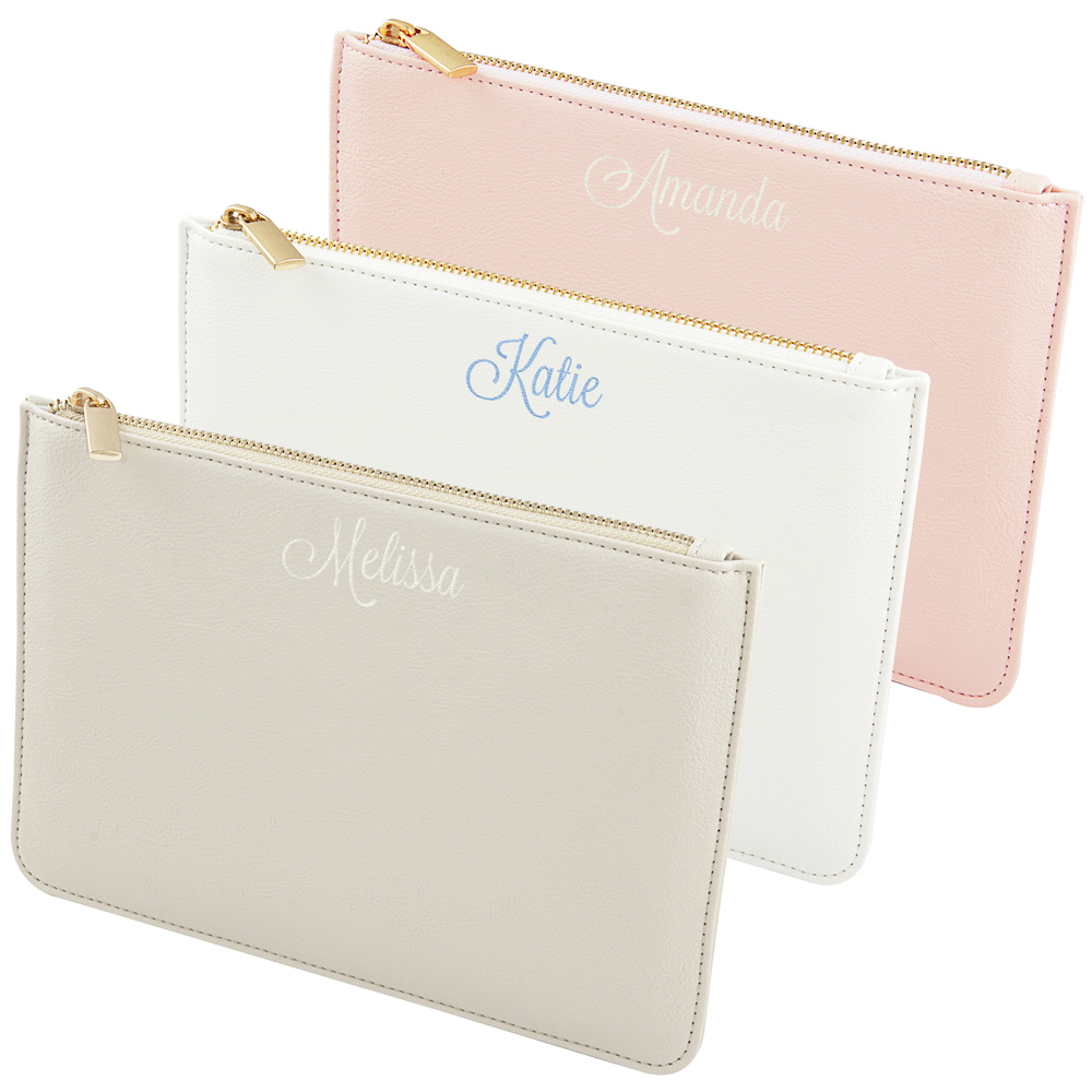 Personalized Women's Vegan Leather Clutches in White, Grey, and Pink with Embroidered Names