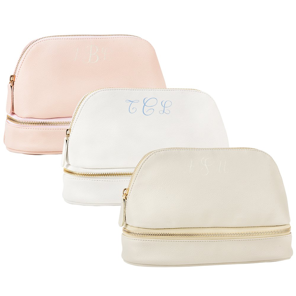 Personalized Pink, White, and Grey Vegan Leather Cosmetic Travel Cases with Embroidered 3-Letter Monogram