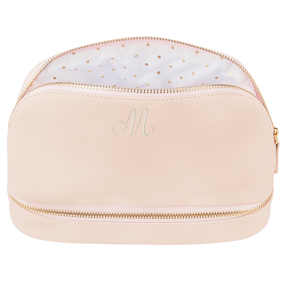 Personalized Pink Vegan Leather Cosmetic Travel Cases with Embroidered Single Initial
