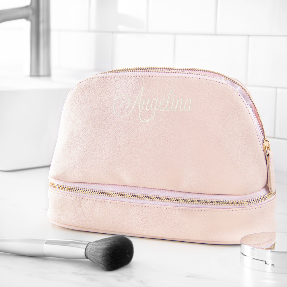 Personalized Pink Vegan Leather Cosmetic Travel Case with Embroidered Name