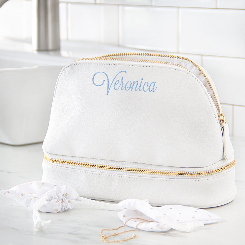 Personalized White Vegan Leather Cosmetic Travel Case with Embroidered Name