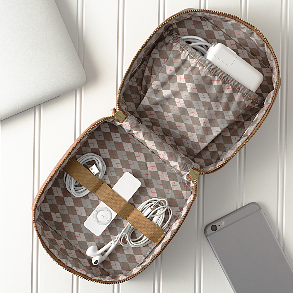 Interior view of Personalized Brown Travel Tech Case
