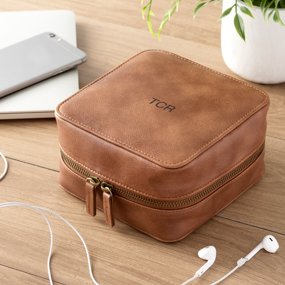 Brown Vegan Leather Travel Tech Case