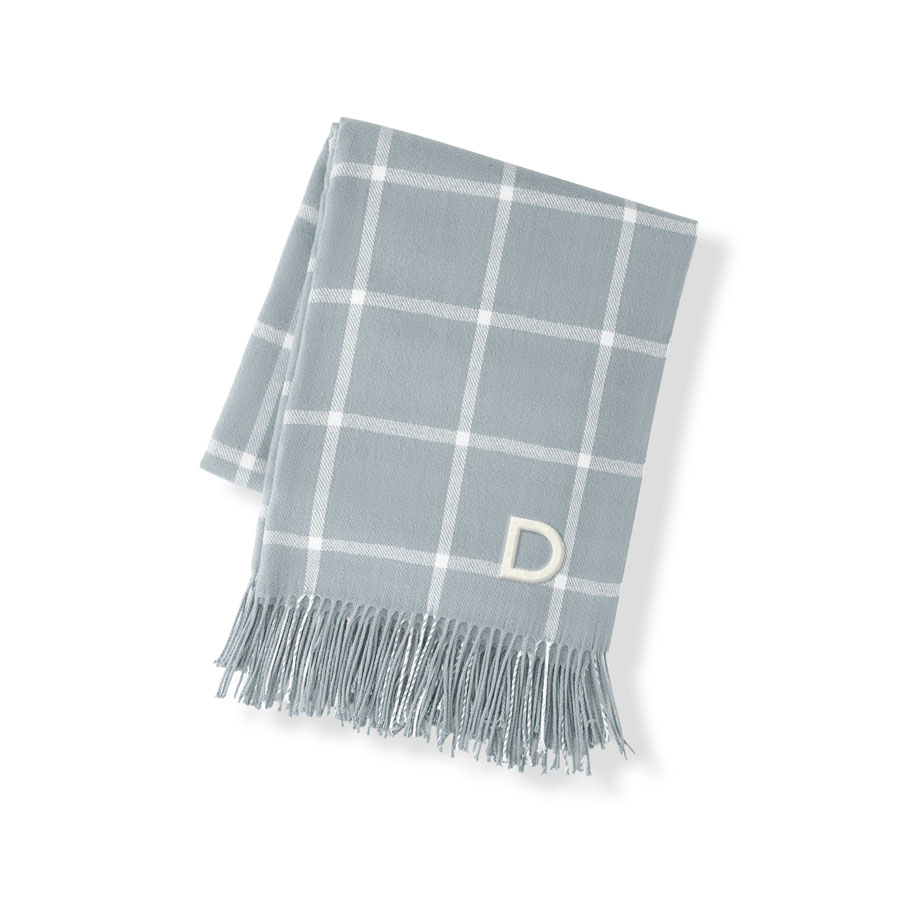 Personalized Grey Windowpane Throw Blanket with Single Initial embroidered in White Thread
